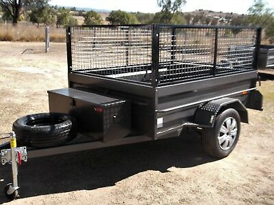 Aust 7X5 H/D Highside Box Trailer Rhino Toolbox Cage Leds Jockey & Spare Etc