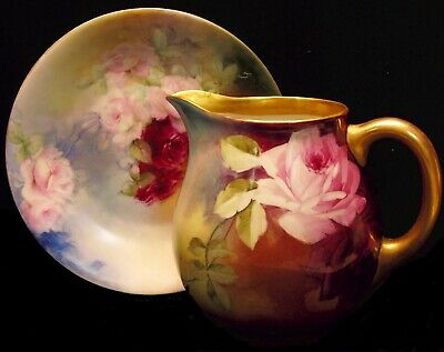 Antique/Vintage William Guerin LImoges France Hand Painted Roses Pitcher & Plate