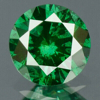 0.22 cts. CERTIFIED Round Cut Vivid Leaf Green Color Loose Natural Diamond 10373