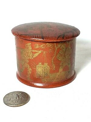 18th Century Japanese Orange Red Lacquered Wooden Tea Caddy Lidded Box