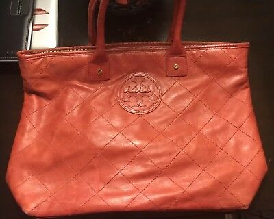 7a0eaf738905 Pre-owned Tory Burch Red Leather Purse Tote Bag Diamond Quilted