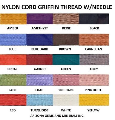 NYLON CORD GRIFFIN BEADING & KNOTTING THREAD 6 SIZES 1 thru 8 and 20 COLORS