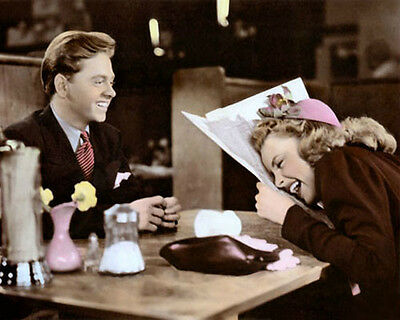 """MICKEY ROONEY JUDY GARLAND BABES ON BROADWAY 8x10"""" HAND COLOR TINTED PHOTOGRAPH"""