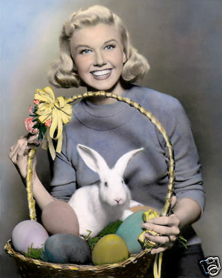 """DORIS DAY EASTER HOLLYWOOD STAR ACTRESS & SINGER 8x10"""" HAND COLOR TINTED PHOTO"""