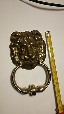 "Vintage Solid Brass Lion Head Door Knocker | 8"" Long 