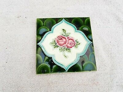1940s Vintage Embossed Floral Design Majolica Art Deco Architecture Tile Japan
