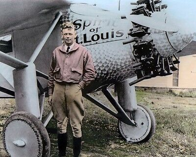 """CHARLES LINDBERGH SPIRIT OF ST. LOUIS 1927 8x10"""" HAND COLOR TINTED PHOTOGRAPH"""