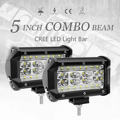 Pair 5inch CREE LED Work Light Bar Spot Flood Combo OffRoad Driving Reverse