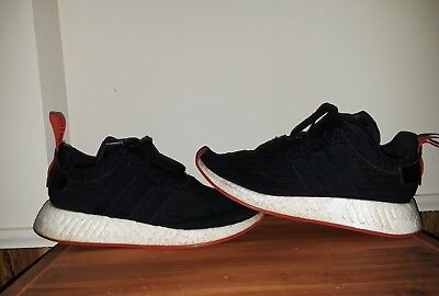 279456cdca577 Adidas NMD R2 PK Nomad Primeknit Black Red White BRED BA7252 Running Shoes sz  9