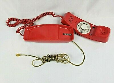 Vintage GTE Automatic Electric Trim Line Telephone Rotary Dial RED Phone 1970s