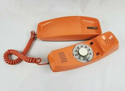 Vintage '77 GTE Automatic Electric Trim Line Telephone Rotary Dial Phone ORANGE