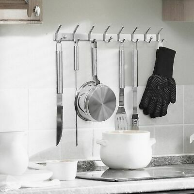 Metal 8 Hooks Wall Mounted Coat Hat Towel Cloth Clothes Hanger Rail Holder New