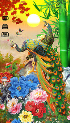 Modern Decor HD oil painting Print on Canvas Feng Shui Peacock Picture Wall Art