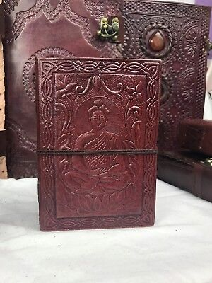 Hand Made Leather Bound Book/Journal Natural Recycled Paper -Buddha -12.5 x 9 cm