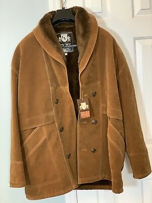 2d85289645ba4 NEW Vintage Men s GV Hand Made in Italy Brown Men s Jacket COAT SZ L  SHEARLING