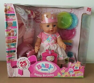 BNIB Baby Born Soft Touch Interactive Birthday Girl Doll Zapf Pink