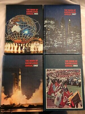 4 Grolier New Book of Knowledge Annual Encyclopedia Lot 1965 1967 1968 1969