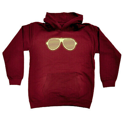 Funny Kids Childrens Hoodie Hoody - Rave Glasses Glow In The Dark