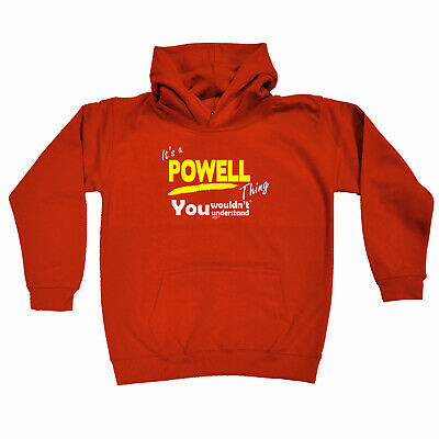Funny Kids Childrens Hoodie Hoody - Powell V1 Its A Surname Thing