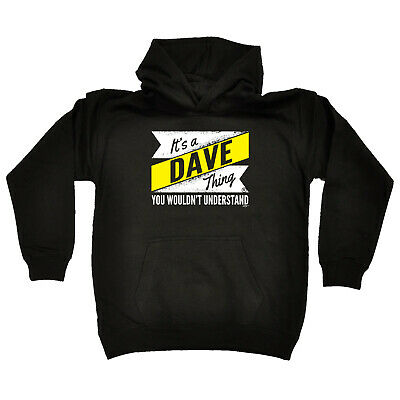 Funny Kids Childrens Hoodie Hoody - V2 Dave Thing Surname