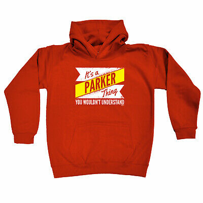 Funny Kids Childrens Hoodie Hoody - V2 Parker Thing Surname