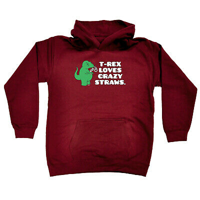 Funny Kids Childrens Hoodie Hoody - Trex Loves Crazy Straws Dinosaur T-Rex