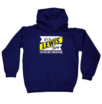 Funny Kids Childrens Hoodie Hoody - V2 Lewis Thing Surname