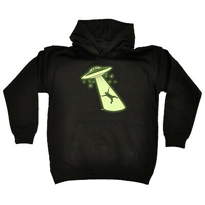 Funny Kids Childrens Hoodie Hoody - Ufo Abduction Glow In The Dark