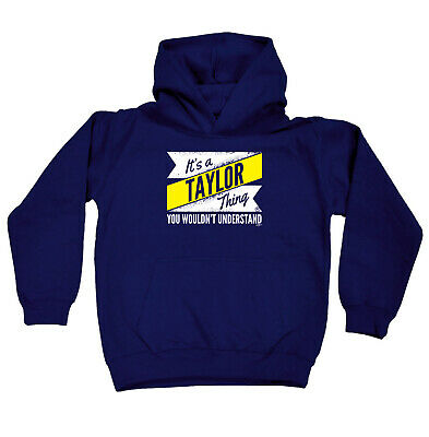 Funny Kids Childrens Hoodie Hoody - V2 Taylor Thing Surname