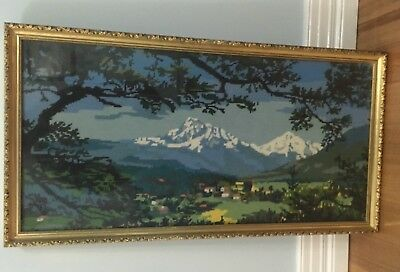 Vintage European Snowy Mountains Completed 1970's Tapestry Framed
