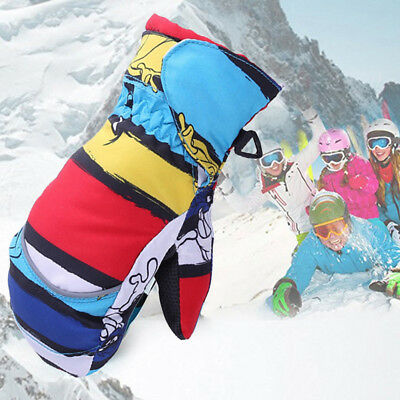 LX_ Thick Kids Boys Girls Mittens Warm Winter Full Finger Snowboard Gloves New
