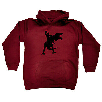 Funny Kids Childrens Hoodie Hoody - Cowboy Riding Trex