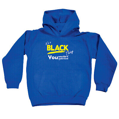 Funny Kids Childrens Hoodie Hoody - Black V1 Its A Surname Thing
