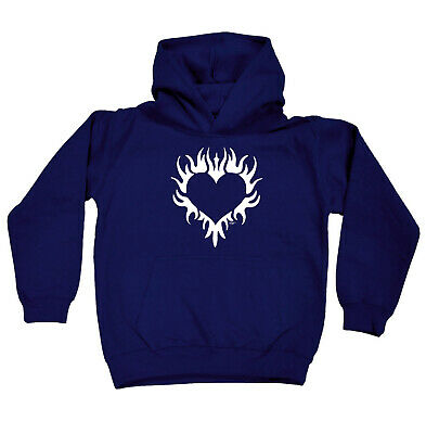 Funny Kids Childrens Hoodie Hoody - Flaming Heart