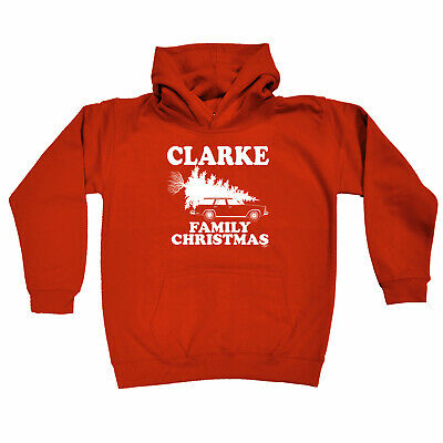 Funny Kids Childrens Hoodie Hoody - Family Christmas Clarke Surname