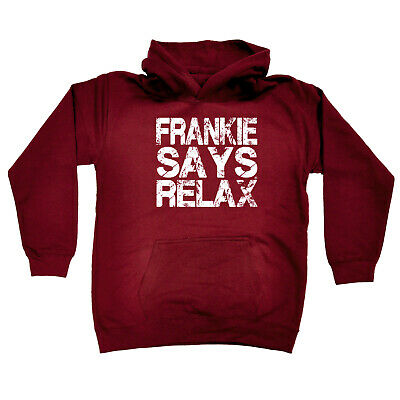Funny Kids Childrens Hoodie Hoody - Frankie Says Relax Distress