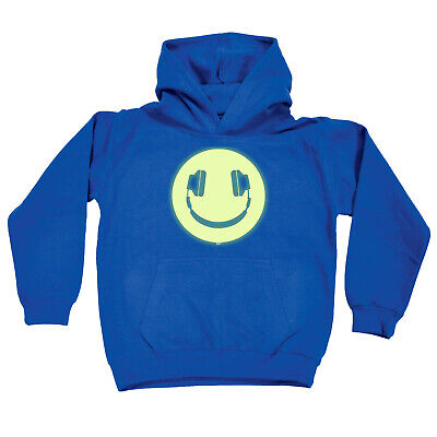 Funny Kids Childrens Hoodie Hoody - Headphone Dj Smile Glow In The Dark