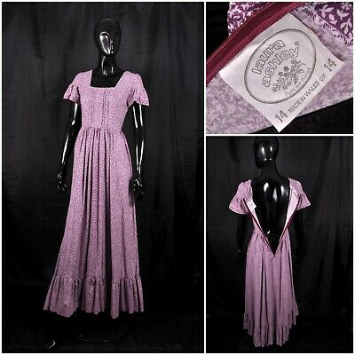Vintage Made in Wales Laura Ashley Cotton Maxl Prairie Peasant Lilac Dress 8 6 S