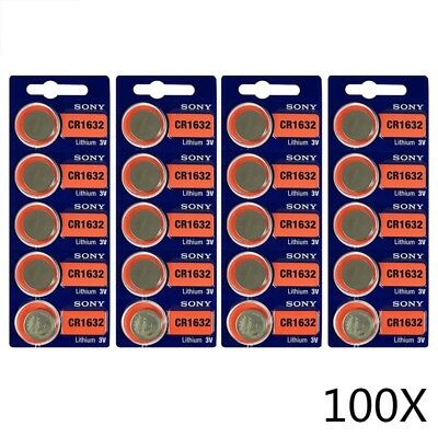 100X Sony CR1632 1632 3V cell coin button battery for watch Made in US Ed 2027