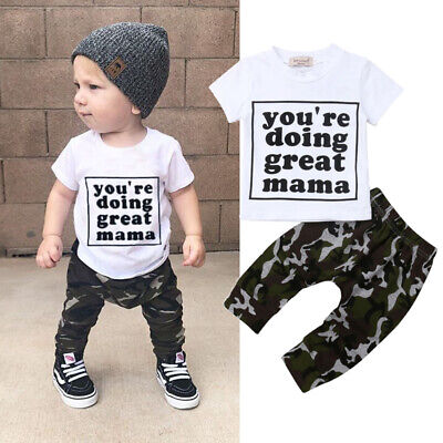 US 2pcs Toddler Infant Baby Boy Summer T-shirt Tops+Shorts Pants Outfits Clothes
