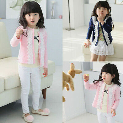 Spring Children Baby Girl Clothes Jackets Lace Cardigan Coat Kid Cloak Outerwear