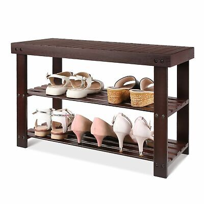 2 Tier 6 Pairs Shoe Rack Bench Seat Stool Shoes Cabinet Storage Retro Black Home