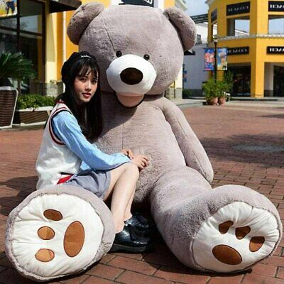 Cute 200cm/2M Gray Giant Skin Teddy Bear Big Stuffed Toy kid Gifts(Only cover)