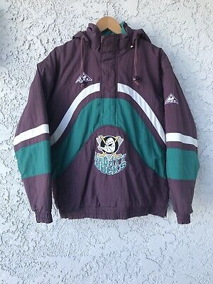 cfee292fe Vintage Anaheim Mighty Ducks Puffer Hooded Jacket Apex One 90s Embroidered  SZ S