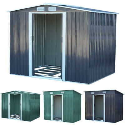 """Metal Garden Shed Outdoor Storage House 4x8 6x8 8x8 8x10"""" Tool Sheds with Base"""