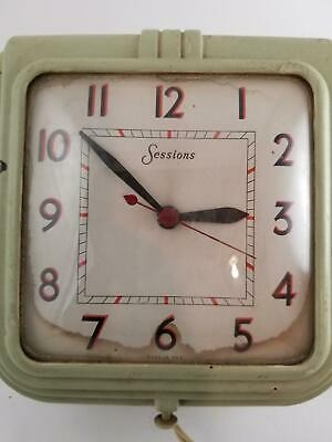 """Sessions Wall Clock Self Starting Electric Art Deco Vintage Green 7"""" Square"""