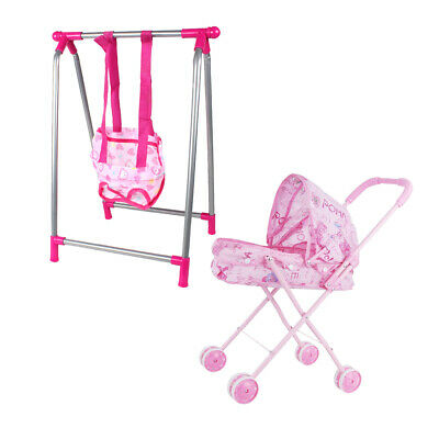 "MagiDeal Baby Infant Stroller Swing ABS Furniture Toy for 9""-12"" Reborn Doll"