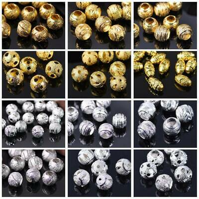 20/30/50Pcs  6/8/10mm Round Silver/Gold Plated Metal Brass Loose Big Hole Beads
