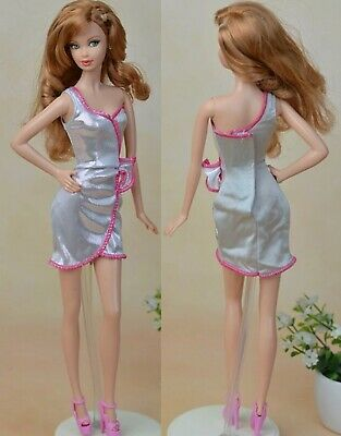 New Barbie doll clothes fashion outfit dress good quality beautiful silver