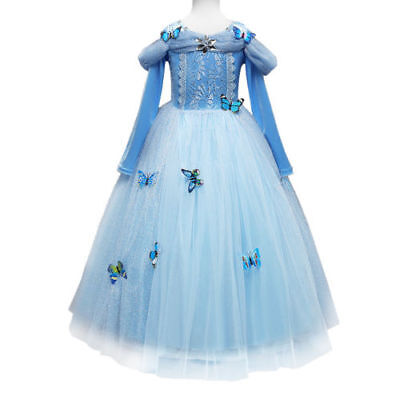 Belle Cinderella Princess Dress Girls Kids Party Cosplay Fancy Costume Dress AU